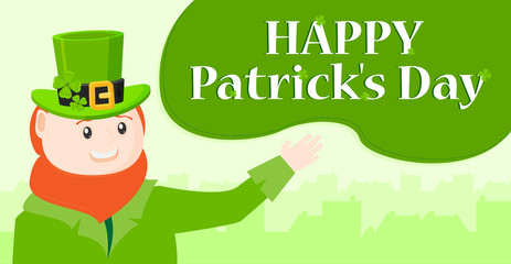 Saint Patrick's Day character leprechaun with green hat, red beard vector