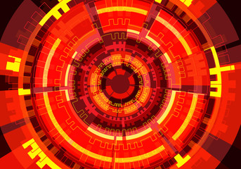 Abstract red circle circuit technology power energy light design modern futuristic background vector illustration.