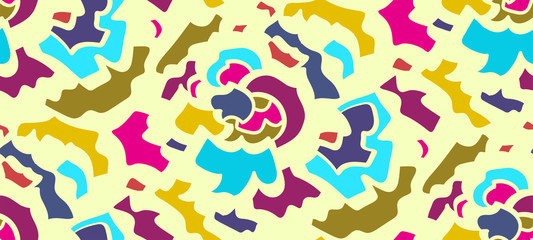 Abstract seamless background pattern in memphis style. Colorful shapes , vector illustration hand drawn. Pop art design...