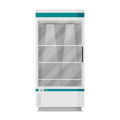 Supermarket. Flat vector. Refrigerator