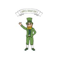 Happy St. Patrick's Day! Hand drawn doodle Ireland Leprechaun icon Vector illustration Sketchy Irish traditional element isolated on white background