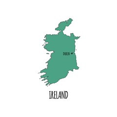 Hand drawn doodle Ireland country map icon Vector illustration isolated on white background Sketchy Irish traditional outer borders symbol Emerald Island Green color
