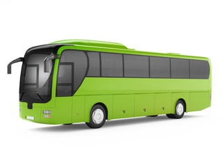 Green big tour bus isolated on a white background. 3D rendering