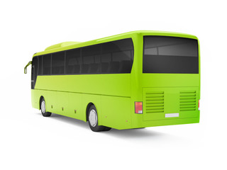 Green big tour bus isolated on a white background. 3D rendering. Back view