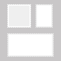 White postage stamps on grey background. Vector.