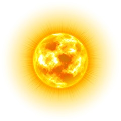 Sun, white background, heavenly body, cartoon, realistic. Star in center of solar system for illustrators. Vector illustration of celestial luminary