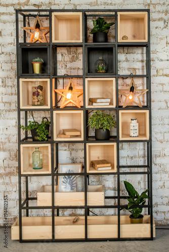 Brick Wall Home Bookshelf With Lamp Interiror In The Loft Style