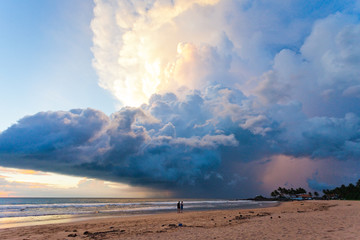 Ahungalla Beach, Sri Lanka - Marvelous mushroom cloud during sunset at the beach of Ahungalla