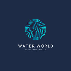 Vector logo design element. Water sign. Circle with waves