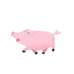 Cute pig cartoon. Cheerful pig character.