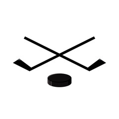 hockey emblem is two crossed hockey sticks and puck