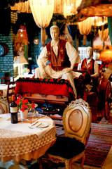 Tradicional horse carriage as decoration in ethno restaurant
