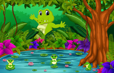 Papiers peints Sous-marin crocodile and frog in the jungle with lake scene