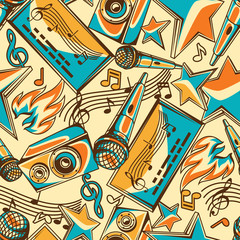 Karaoke party seamless pattern. Music event background. Illustration in retro style
