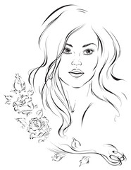 Graphic portrait of a young cute girl with beautiful hair. Vector illustration