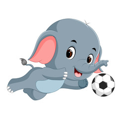 funny elephant playing football cartoon