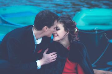 Blue Toned Portrait Of Happy Couple