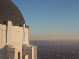 View of Los Angeles in sunset from Griffith Observatory