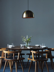 Elegant tablesetting with Scandinavian design and wooden materials