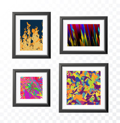 Set of Realistic Minimal Isolated Black Frame with Abstract Art Scene on Transparent Background for Presentations . Vector Elements