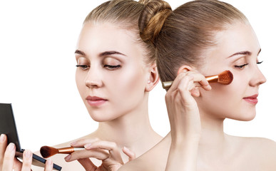 Woman with holding palette for contouring face.