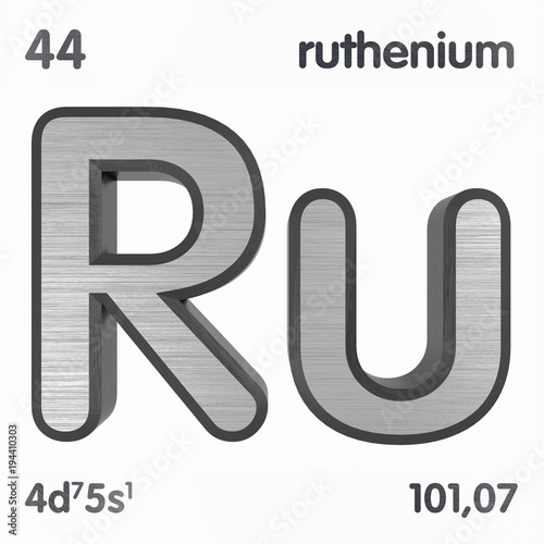 Ruthenium Ru Chemical Element Sign Of Periodic Table Of Elements