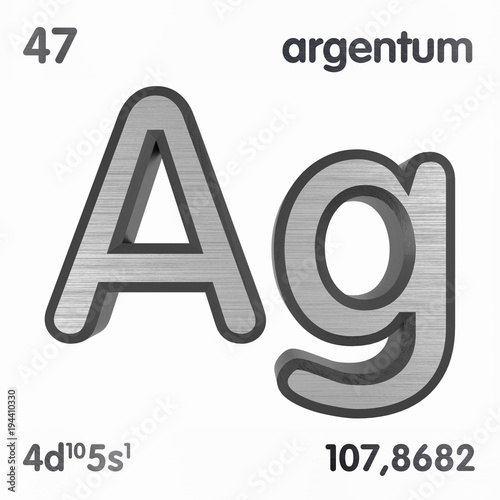 Silver Ag Or Argentum Chemical Element Sign Of Periodic Table Of