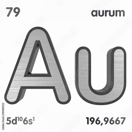 Gold Au Or Aurum Chemical Element Sign Of Periodic Table Of