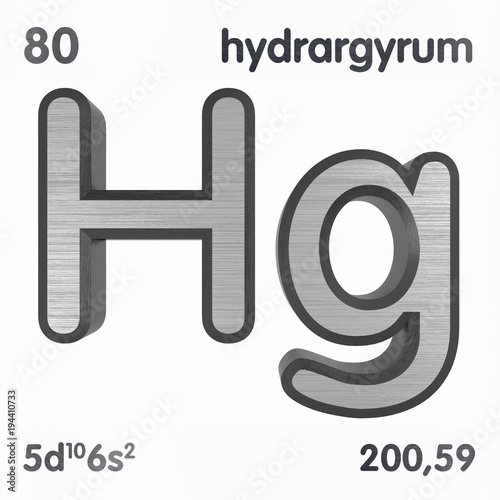 Mercury Hg Or Hydrargyrum Chemical Element Sign Of Periodic Table
