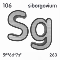 Seaborgium (Sg). Chemical element sign of periodic table of elements. 3D rendering.