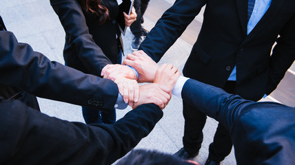 Businessman and busineswoman Collaboration, business people teamwork concept.