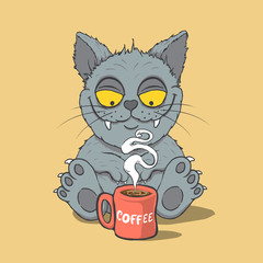 Funny cat with cup of coffee in the morning. Animal characters.Cartoon vector illustration