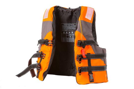 orange life jacket on white background, vest undone
