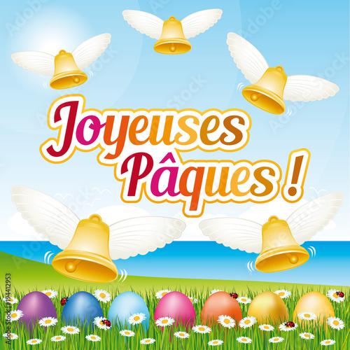 Joyeuses p ques carte de voeux illustration vectorielle french happy easter greeting card - Joyeuses paques images gratuites ...