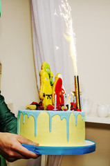 child birthday cake yellow and blue heroes