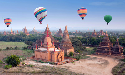 Colorful hot air balloons flying over Bagan Archaeological zone, Myanmar