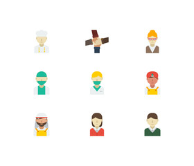 Occupation icons set with chef, indian worker and doctor elements. Set of occupation icons also including indian man sign for your web app logo UI design.