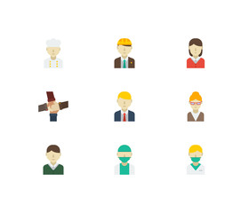 Profession icons set with female worker, doctor and chef elements. Set of profession icons also including culinary sign for your web app logo UI design.