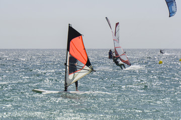 Surfers on Tarifa. Spain.