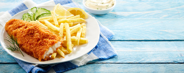 Crumbed deep fried fillet of cod