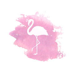 Silhouette of pink flamingo on pink watercolor spot