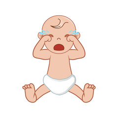 Baby Crying Vector Illustration