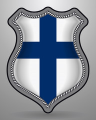 Flag of Finland. Vector Badge and Icon