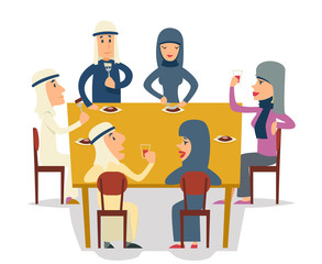 Arab Family Group Friends Eat Meal Characters Celebration Meating Party Cartoon Design Vector illustration