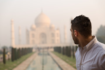 Tourist man in Taj Mahal, India