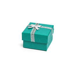 Teal gift box with silver ribbon isolated