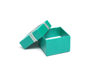 Open Teal color gift box with silver ribbon isolated on white ba