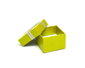 Open Yellow color gift box with silver ribbon isolated on white