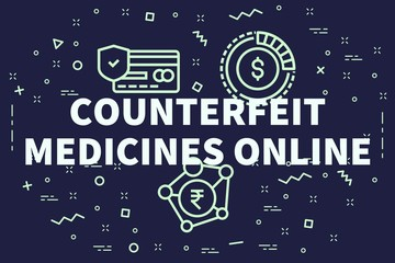 Conceptual business illustration with the words counterfeit medicines online
