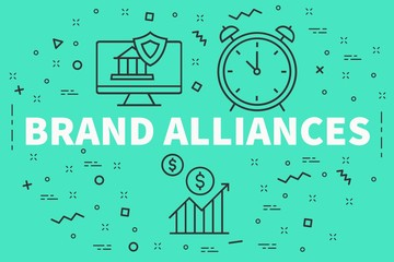 Conceptual business illustration with the words brand alliances